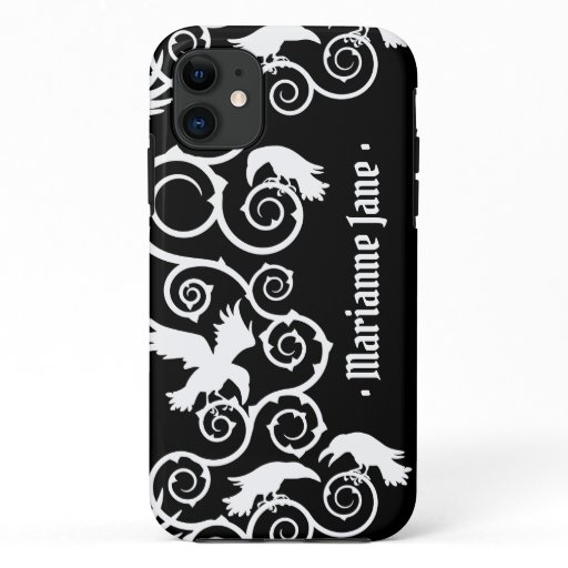 White on Black Witch Gothic Victorian Raven Goth iPhone 11 Case