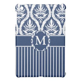 White on Blue Bold Damask iPad Mini Covers