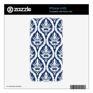 White on Blue Bold Damask iPhone 4 Skin