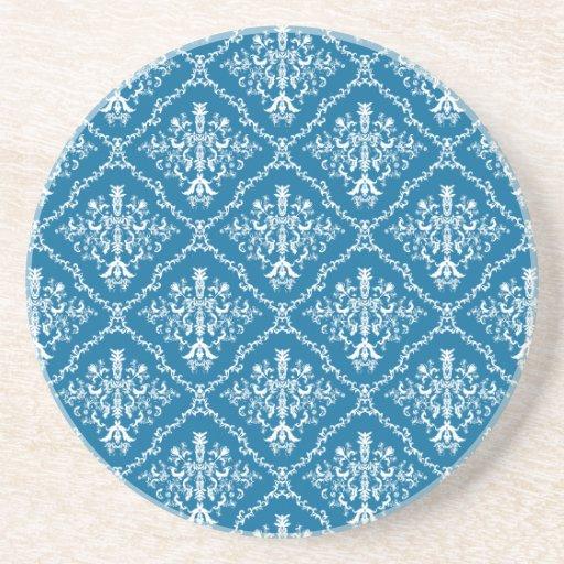 White on Blue Damask Beverage Coaster