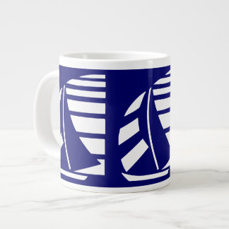 White on Blue Racing Boats Jumbo Coffee Mug