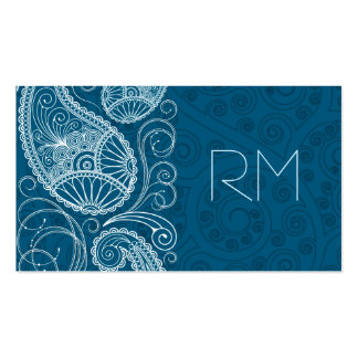 White On Blue Retro Paisley Pattern Design Double-Sided Standard Business Cards (Pack Of 100)