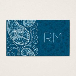 White On Blue Retro Paisley Pattern Design Business Card