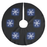 White on Blue Snowflake Brushed Polyester Tree Skirt