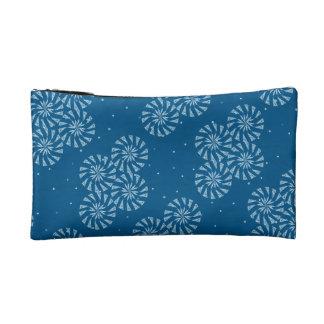 White on Blue Snowflake Winter Holiday Pattern Makeup Bag