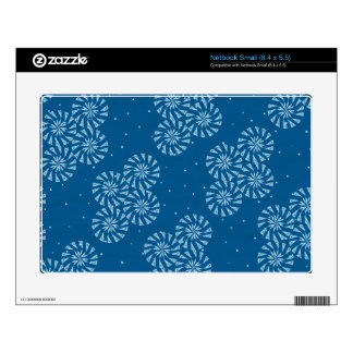 White on Blue Snowflake Winter Holiday Pattern Skins For Small Netbooks