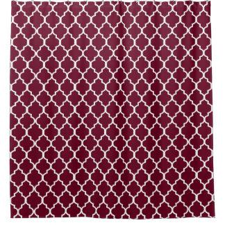 White on Burgundy Red Quatrefoil Custom Background Shower Curtain
