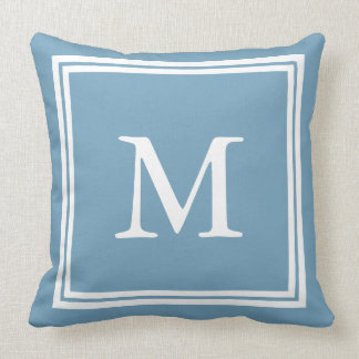 White on Carolina Blue Double Frame Monogram Throw Pillow