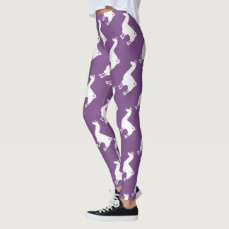White On Colour Llama Leggings