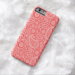 "White On Coral-Red Retro Paisley Pattern Barely There iPhone 6 Case<br><div class=""desc"">White vintage paisley pattern over coral-rede background you can change by changing designs background color. White paisley has a transparent background.</div>"
