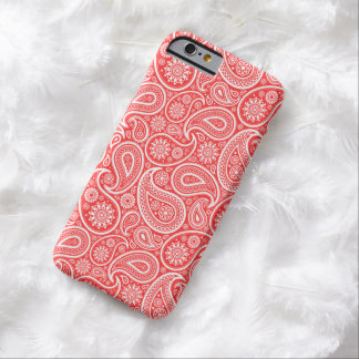 White On Coral-Red Retro Paisley Pattern Barely There iPhone 6 Case