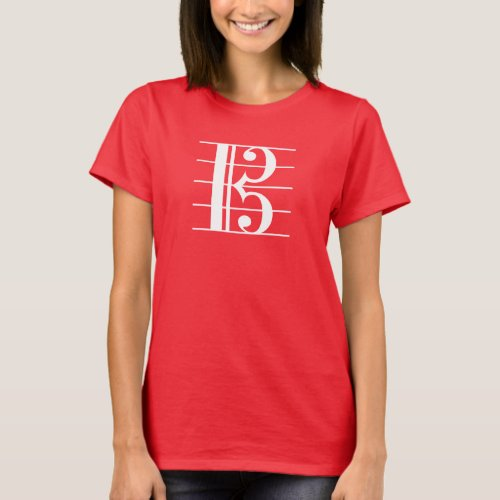 White_on_Dark Alto Clef T_Shirt