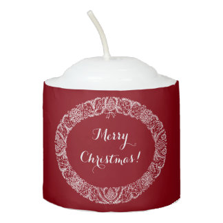 White on Deep Red Christmas Wreath to Customize Votive Candle