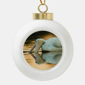 White on Gold Ceramic Ball Christmas Ornament
