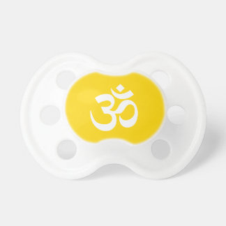 White on Gold Om Symbol Baby Pacifiers