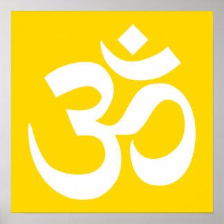 White on Gold Om Symbol Poster