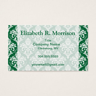 White on Green Damask Business Card