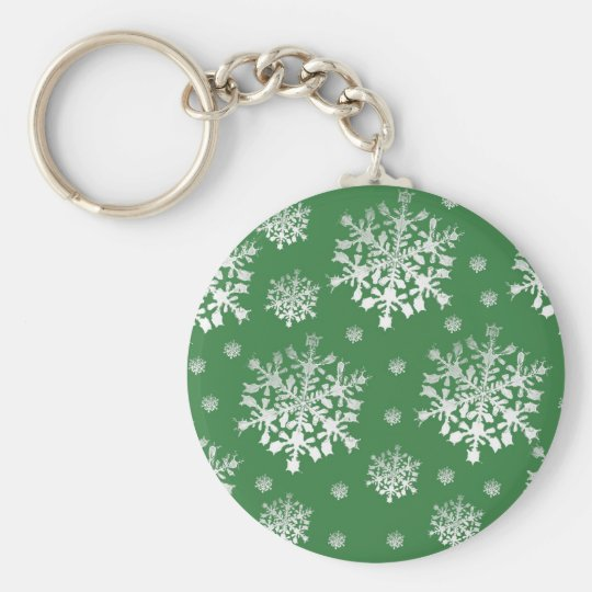 White on Green Snowflake Design Keychain