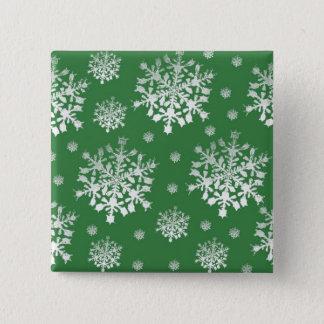 White on Green Snowflake Design Pinback Button