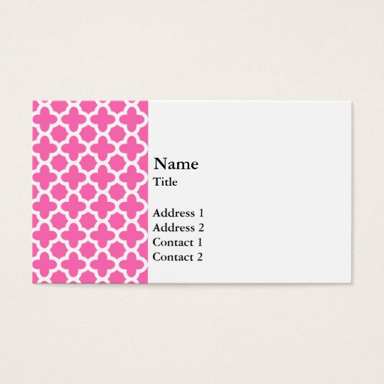 White on Hot Pink Quatrefoil Pattern Business Card