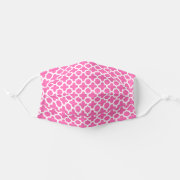 White on Hot Pink Quatrefoil Pattern Cloth Face Mask