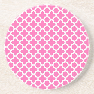 White on Hot Pink Quatrefoil Pattern Beverage Coasters