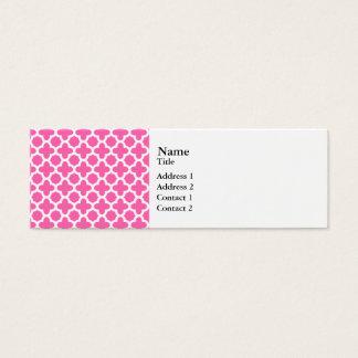 White on Hot Pink Quatrefoil Pattern Mini Business Card