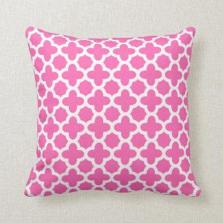 White on Hot Pink Quatrefoil Pattern Throw Pillow