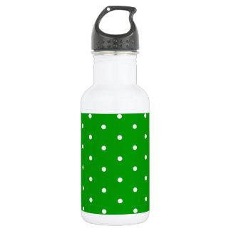 White on Kelly Green Polka Dots 18oz Water Bottle
