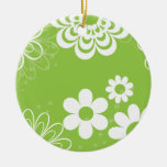 White on Lime Christmas Tree Ornament