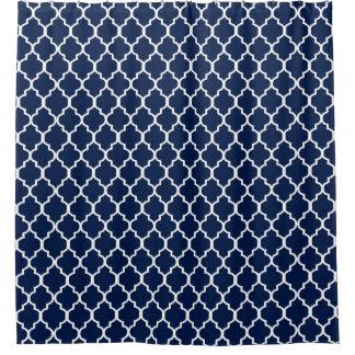 White on Navy Blue Quatrefoil Custom Background Shower Curtain