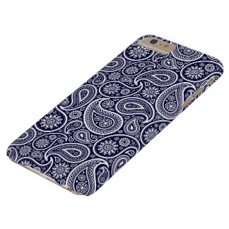White On Navy Blue Retro Paisley Pattern Barely There iPhone 6 Plus Case