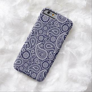White On Navy Blue Retro Paisley Pattern iPhone 6 Case
