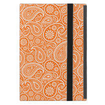 White On Orange Retro Paisley Pattern Case For iPad Mini