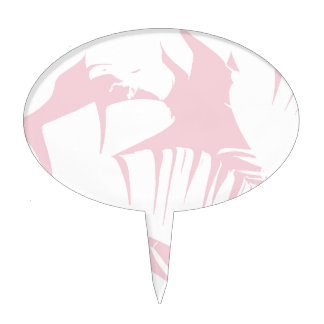 White on Pink Tropical Banana Leaves Pattern Cake Topper