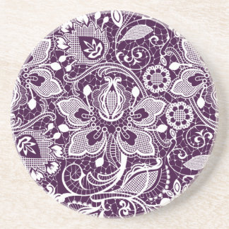 White On Purple Elegant Vintage Floral Lace Drink Coasters