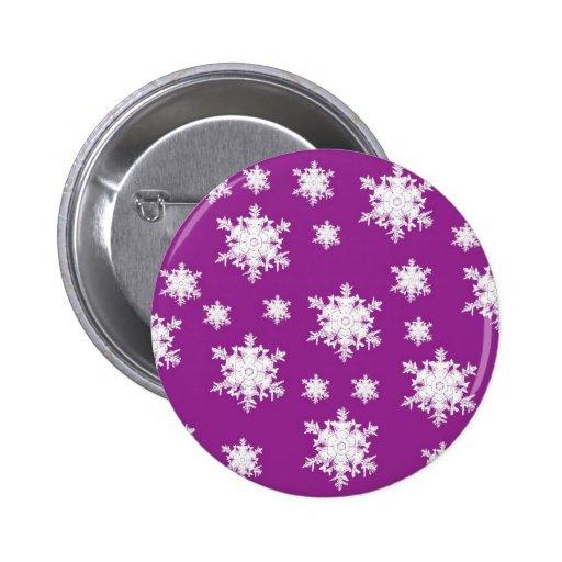 White on Purple Snowflake Design 2 Inch Round Button