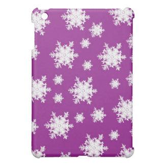 White on Purple Snowflake Design iPad Mini Cover