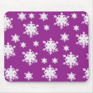 White on Purple Snowflake Design Mouse Pad