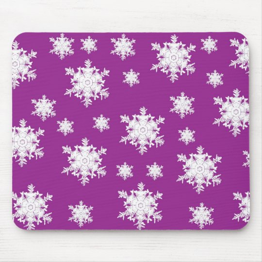 White on Purple Snowflake Design Mouse Pad