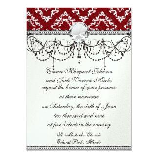 white on red diamond damask invite