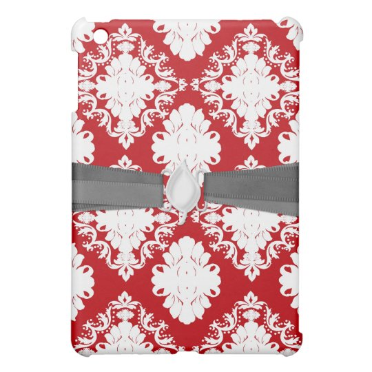 white on red romance damask design cover for the iPad mini