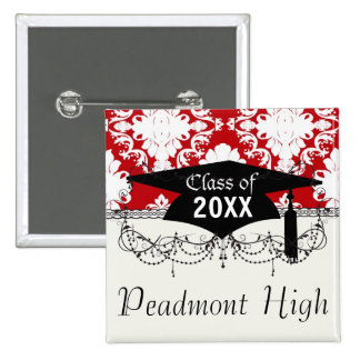 white on red romance damask design graduation 2 inch square button