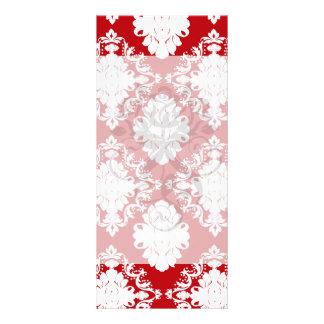 white on red romance damask design custom rack card
