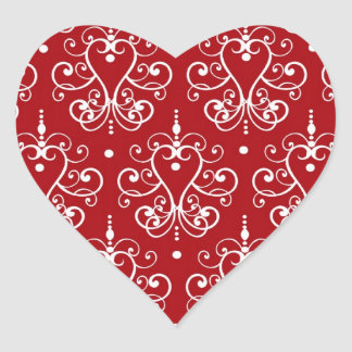 white on red swirl chandelier heart damask heart sticker