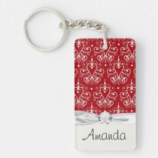 white on red swirl chandelier heart damask keychain