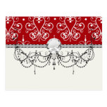 white on red swirl chandelier heart damask post cards