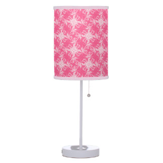 White on Rosy Pink Damask Table Lamp