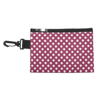 White on Sangria Pink Polka Dots Accessory Bag
