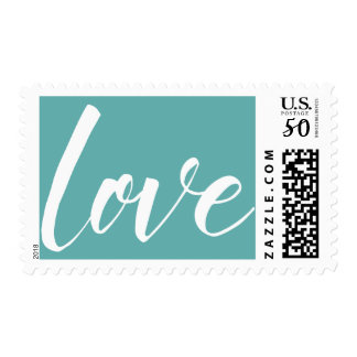 "White on Seafoam Green Typography, ""love"", 18a Postage"